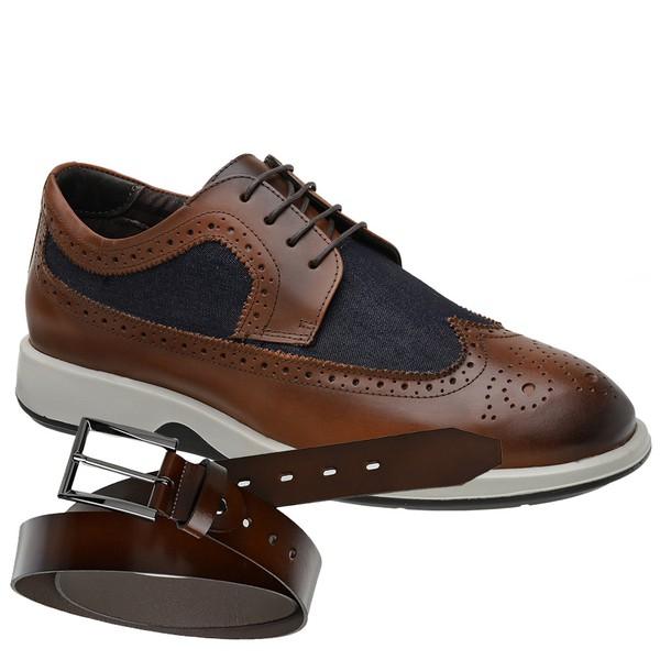 Sapato Casual Oxford Jota Pe Marrom Air Kingston + Cinto Vitellino