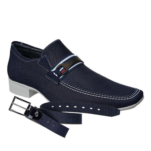 Sapato Casual Jota Pe Jeans Marinho Air+Cinto Jeans Marinho
