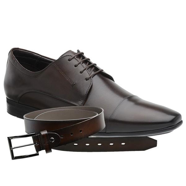 Sapato Jota Pe Marrom Air Trissot + Cinto de Couro