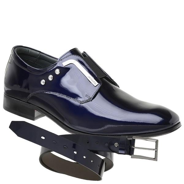 Sapato Social Jota Pe Verniz Purple Blue Salvatore + Cinto de Verniz