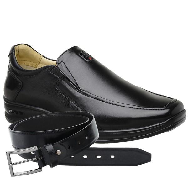 Sapato Jota Pe Preto 3D Air Soft Space + Cinto de Couro