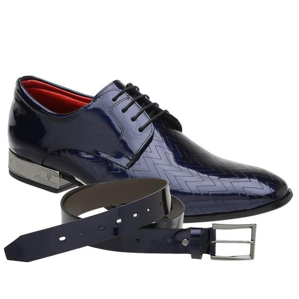 Sapato Social Jota Pe Verniz Blue Ducalle Onix + Cinto de Verniz