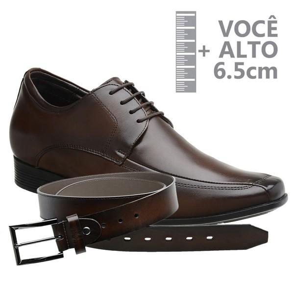 Sapato com Salto Interno Jota Pe Marrom Grow Air King + Cinto de Couro