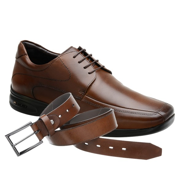 Sapato Jota Pe 3D Marrom Air Vision + Cinto de Couro