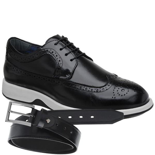 Sapato Casual Oxford Jota Pe Preto Air Kingston + Cinto de Couro