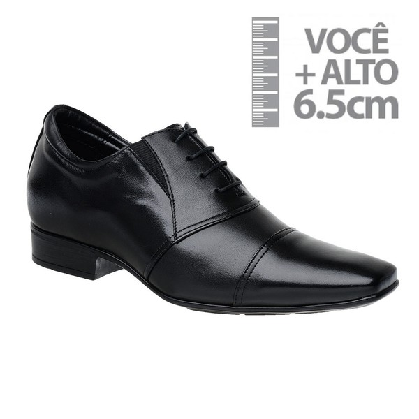 Sapato com Salto Interno Jota Pe Preto Grow Air