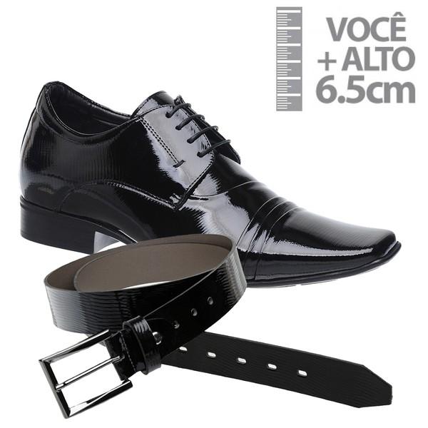 Sapato com Salto Interno Jota Pe Preto Verniz Grow Air + Cinto de Verniz