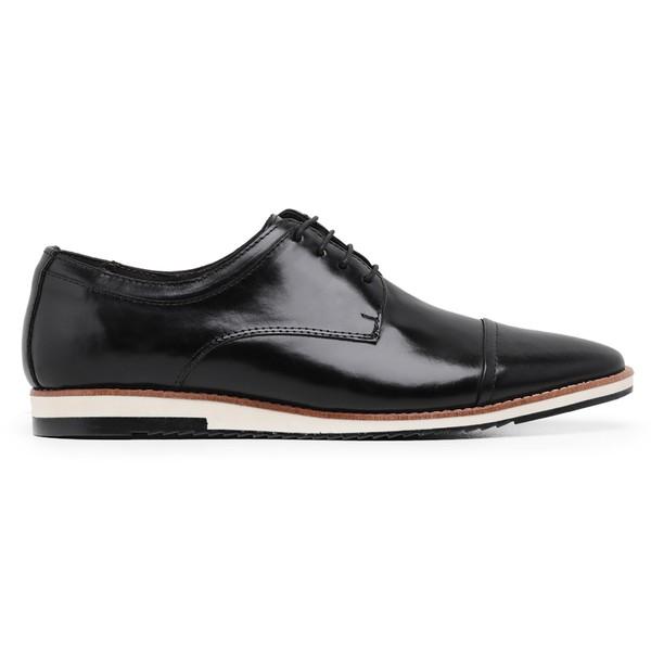Sapato Casual Couro Derby Preto