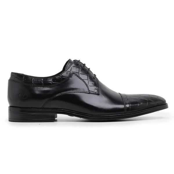 Sapato Social Preto Croco Wood