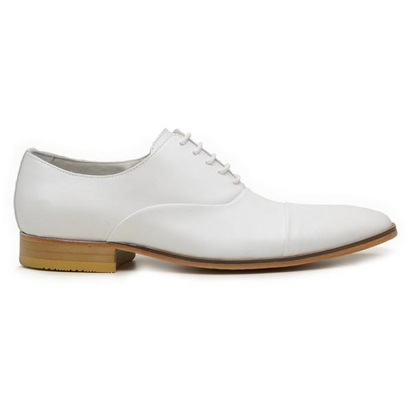 Sapato Social Masculino Branco em Couro De Amarrar