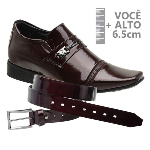 Sapato com Salto Interno Vinho Jota Pe Grow Air + Cinto de Verniz