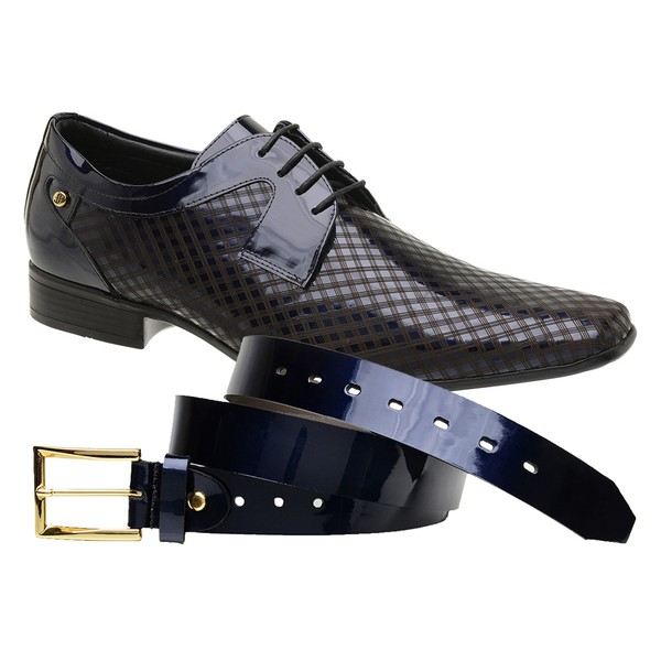 Sapato Social Jota Pe Purple Blue Boss Gold + Cinto de Verniz