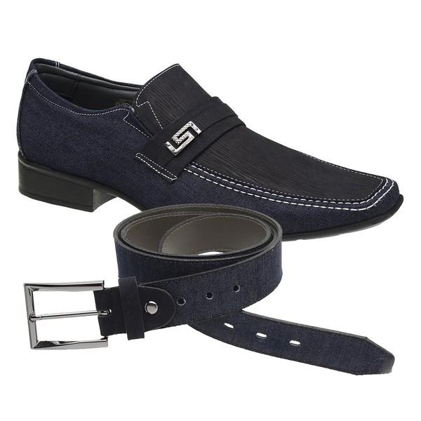 Sapato Casual Jota Pe Jeans Marinho Air Diesel + Cinto Jeans