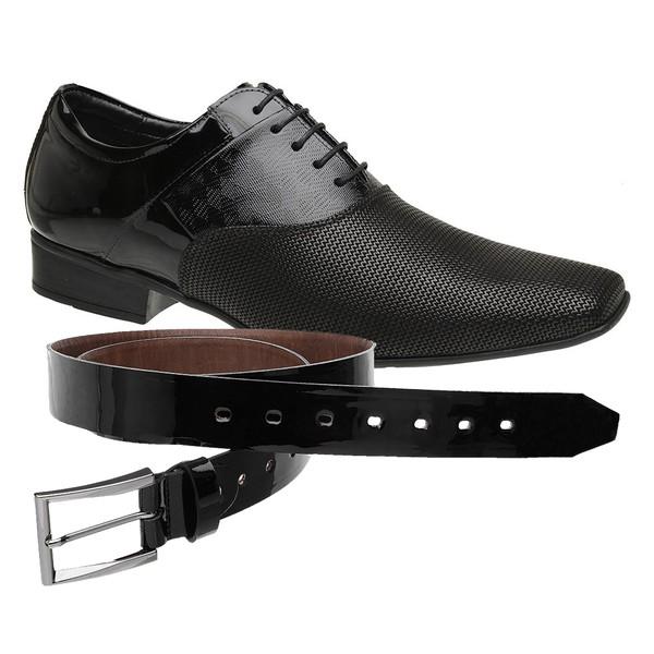 Sapato Social Jota Pe Verniz Preto Air Phoenix + Cinto Envernizado
