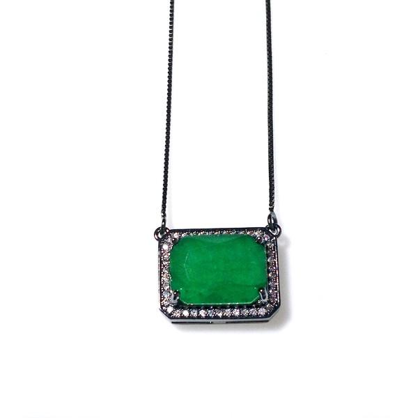 Colar Folheado a Ródio Negro com Pedra Fusion Verde e Zircônias