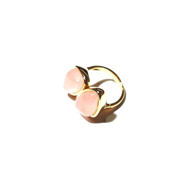 Anel Folheado a Ouro 18K com Quartzo Rosa