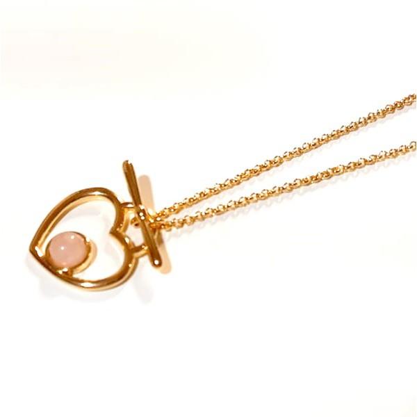 Colar Folheado a Ouro 18K Coração com Quartzo Rosa