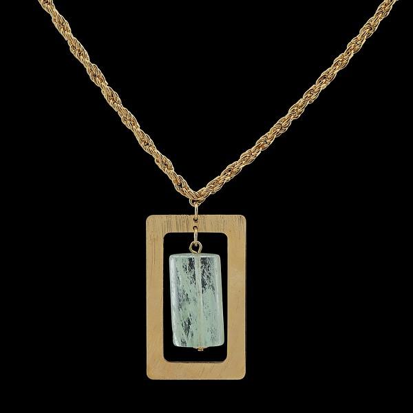 Colar Cordão Folheado à Ouro com Pedra Natural Fashion Green