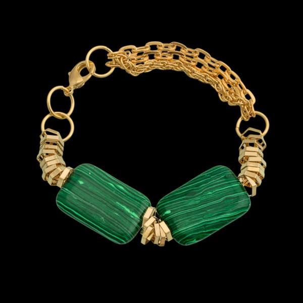Pulseira folheada à ouro 18k com pedra natural malaquita