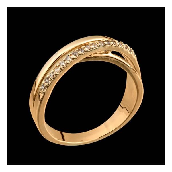 Anel folheado à ouro branco 18k zircônias infinito
