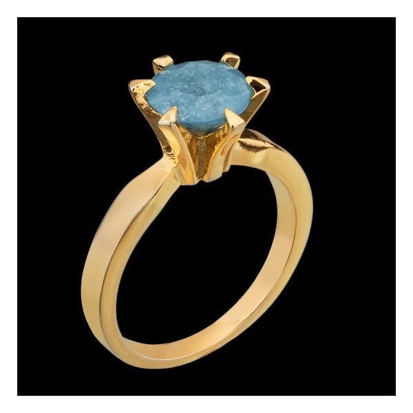 Anel Solitário Folheado à Ouro 18K Azul