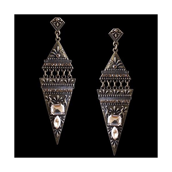 Brinco Bijuteria Rústica Prata Velha Egipcio Triangular