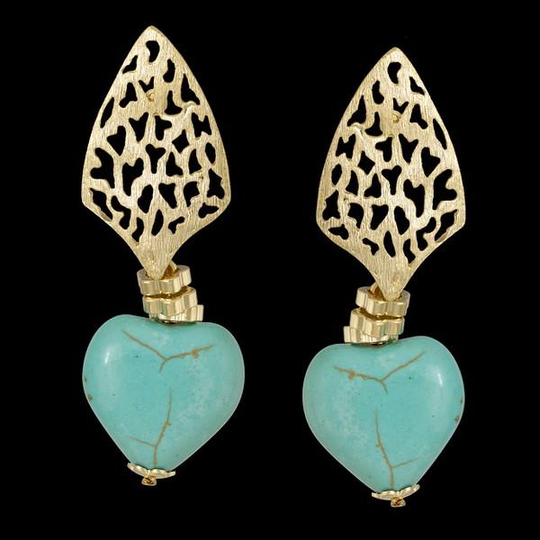 Brinco folheado à ouro 18k com pedra natural turquesa azul coração