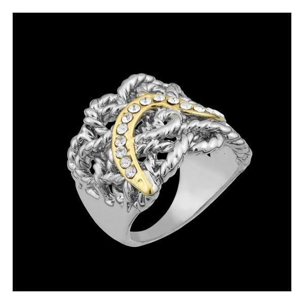 Anel folheado em ouro branco cordão glamour
