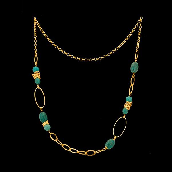 Colar folheado à ouro 18k Pedraria Azul Turquesa