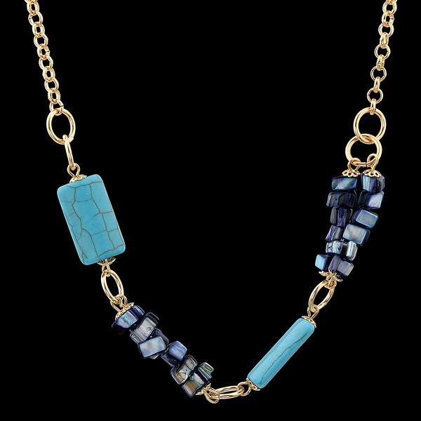 Colar com Cascalhos de madrepérola e Pedra Natural Turquesa Azul