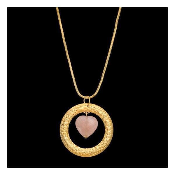 Colar folheado à ouro 18k coração quartzo rosa