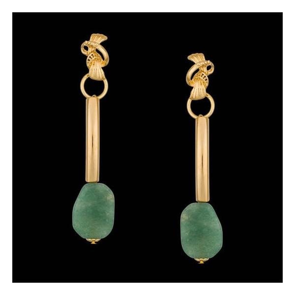 Brinco folheado à ouro 18k palito de quartzo verde