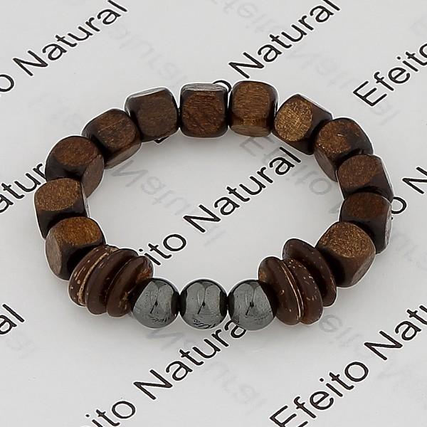 Pulseira Masculina Efeito Natural Pedra Madeira & Hematita