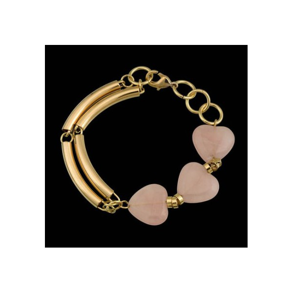 Pulseira folheada à ouro 18k com pedra natural quartzo rosa