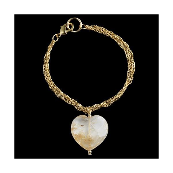 Pulseira folheada a ouro,com coração pedra natural,cristal rutilado.