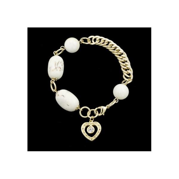 Pulseira folheada a ouro,com pedra natural turquesa pingente coração