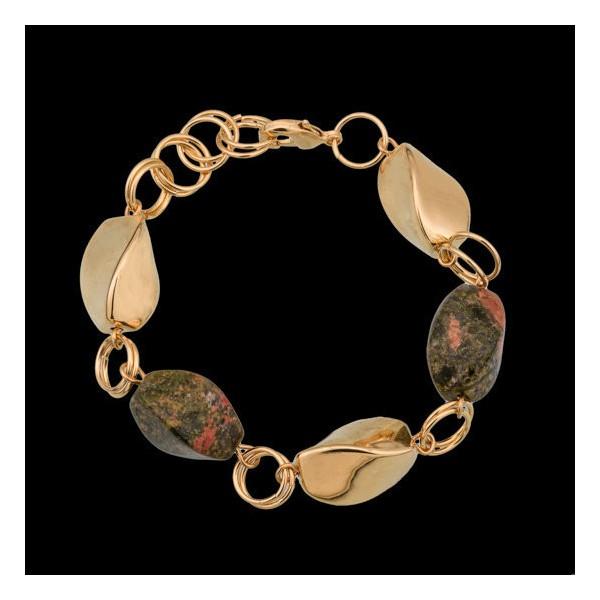 pulseirafolheada a ouro com pedra natural