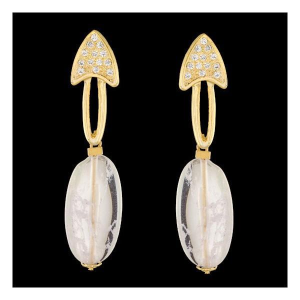 Brinco folheado à ouro 18k fashion opal