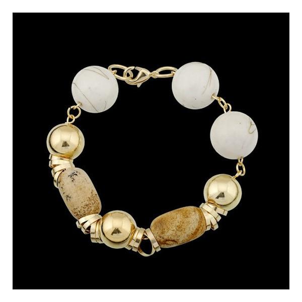 Pulseira folheada a ouro,com pedra natural pedra madeira.
