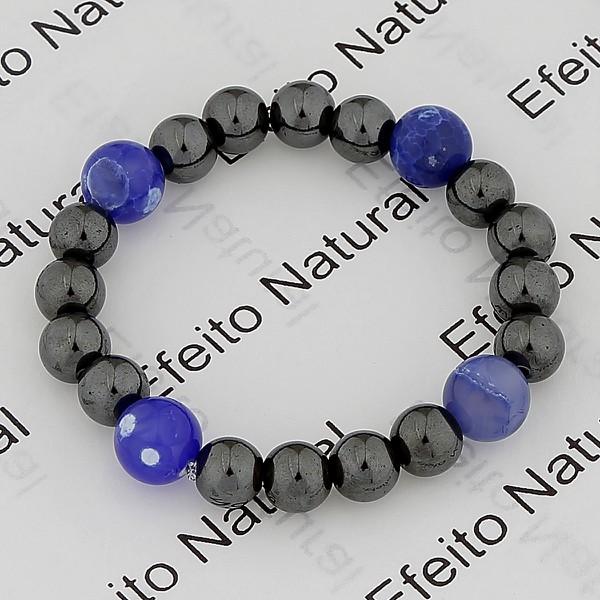 Pulseira Masculina Efeito Natural Hematita e Ágata Azul