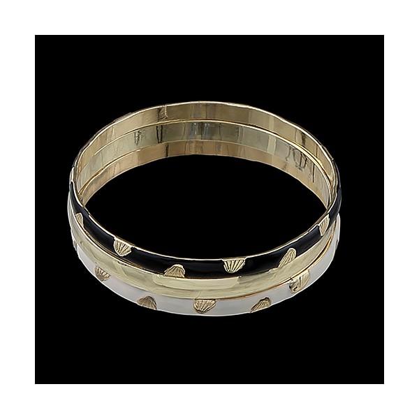 Pulseira folheada a ouro 18k resinada egípcia bicolor