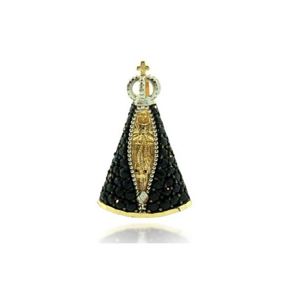 Pingente Medalha Nossa Senhora Aparecida com Safira Azul Médio em Ouro 18K