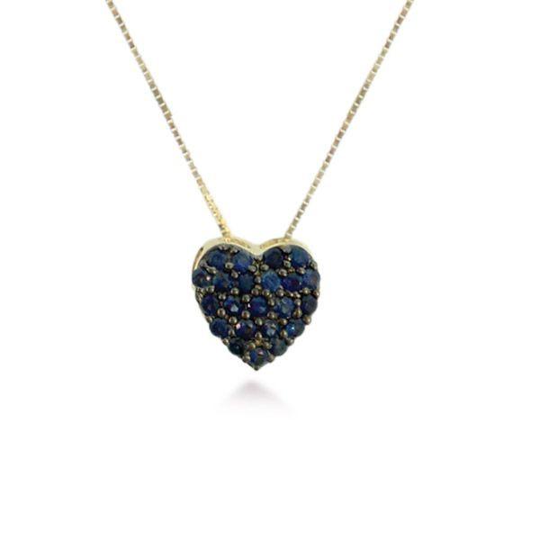 Pingente de Coração Pequeno com Safiras em Ouro 18K