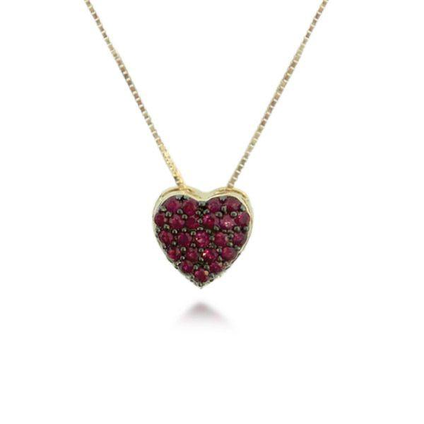Pingente de Coração com Rubi em Ouro 18K