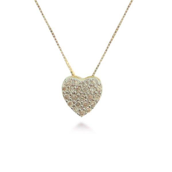 Pingente de Coração com Brilhantes em Ouro 18K