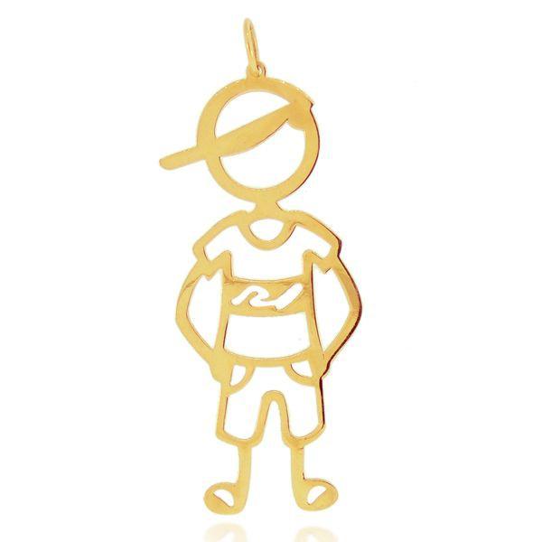 Pingente de Filho Menino Grande em Ouro 18k