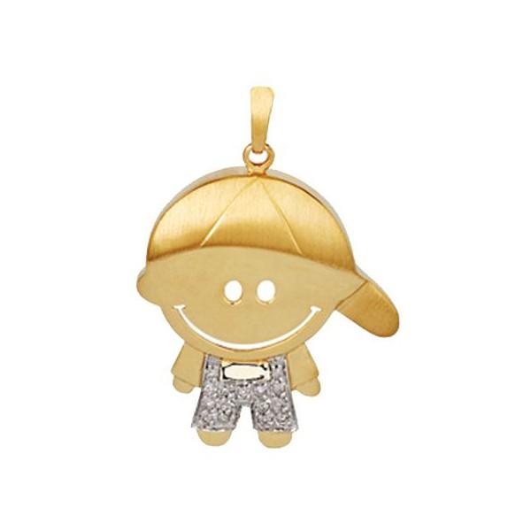Pingente de Filho Menino com Brilhantes em Ouro 18K