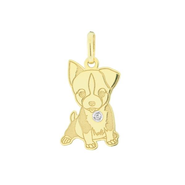 Pingente Cachorro Chihuahua em Ouro 18K