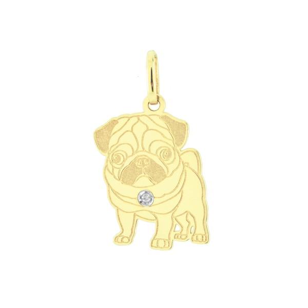 Pingente Cachorro Pug em Ouro 18K