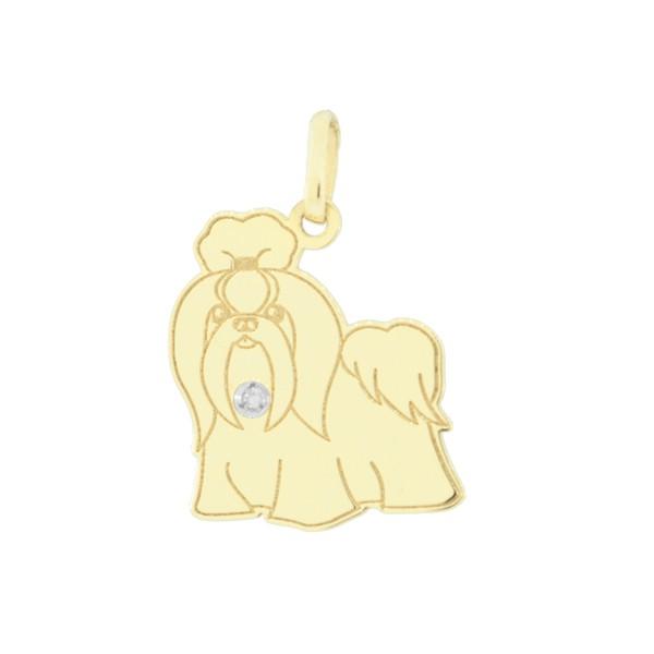 Pingente Cachorro Shih Tzu em Ouro 18K